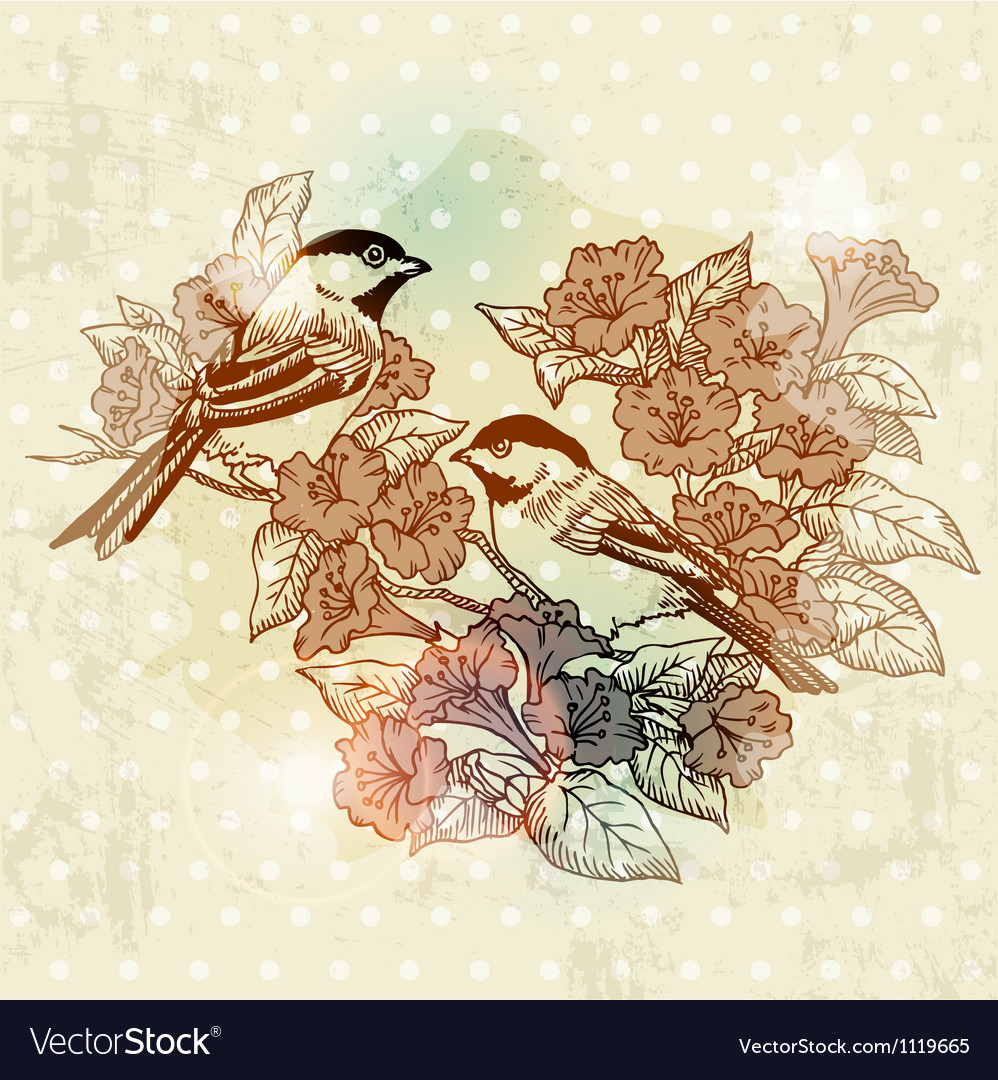 Vintage spring card with bird and flowers vector | Price: 1 Credit (USD $1)