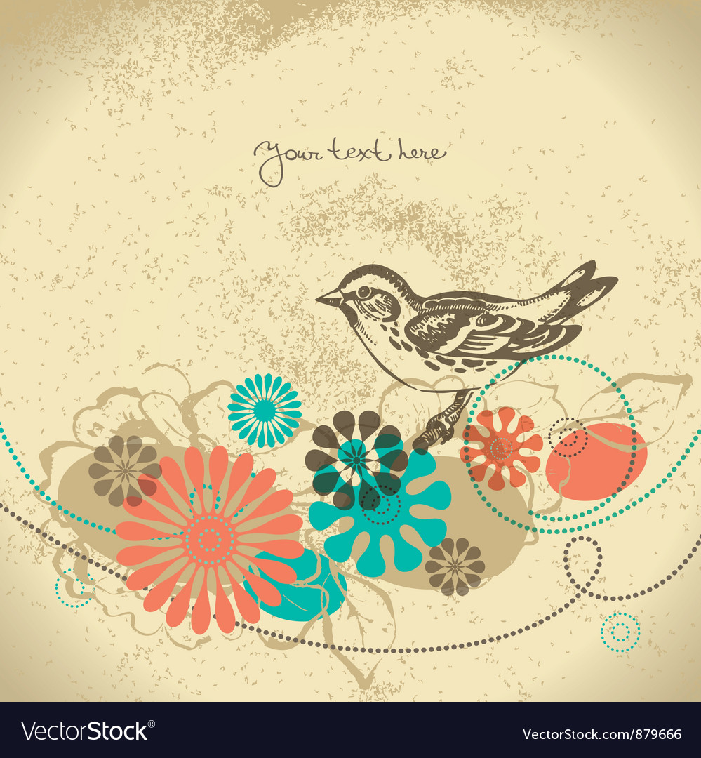 Abstract floral background with bird vector | Price: 1 Credit (USD $1)