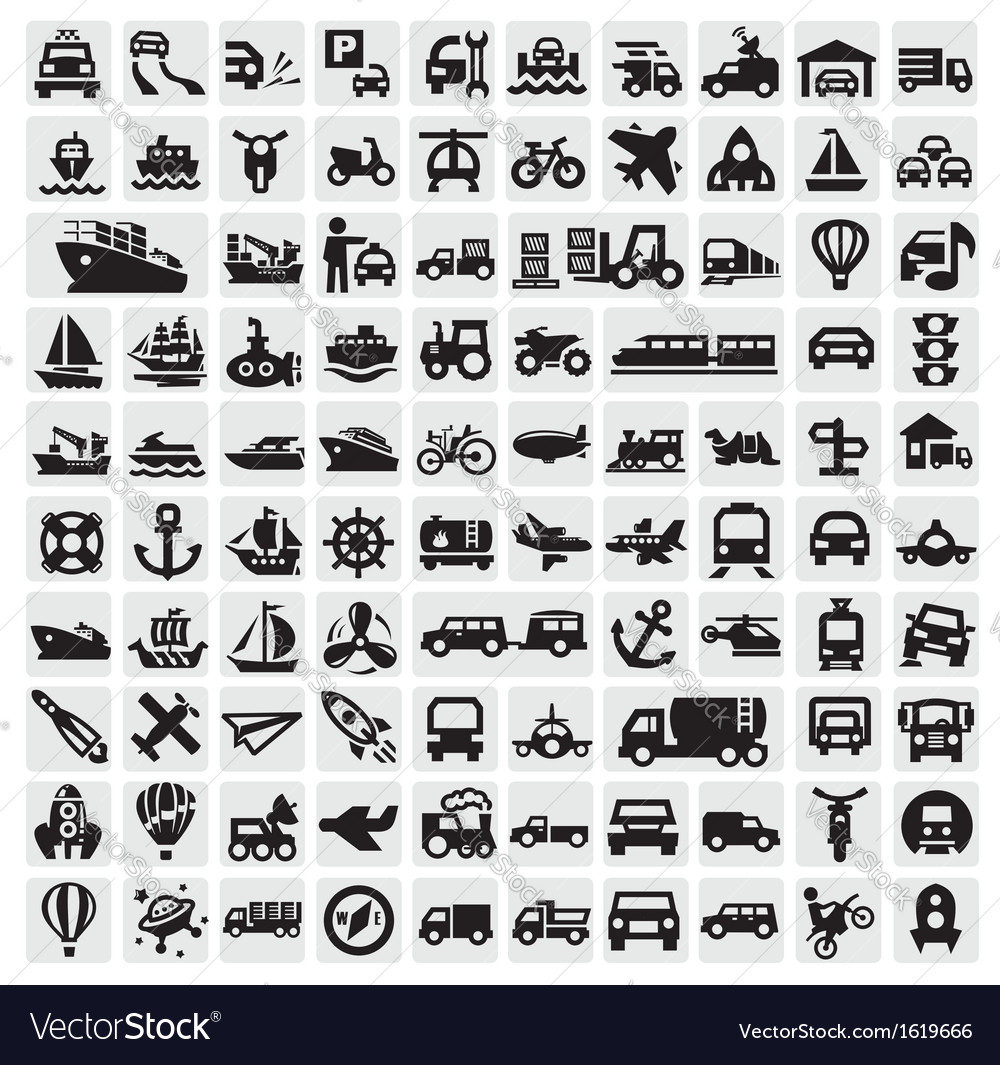 Big transportation icons vector | Price: 1 Credit (USD $1)