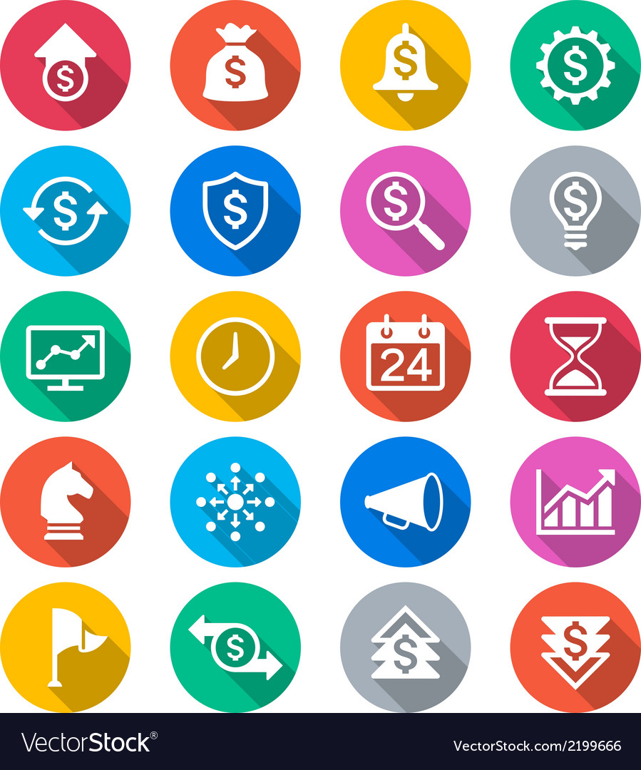 Business flat color icons vector | Price: 1 Credit (USD $1)