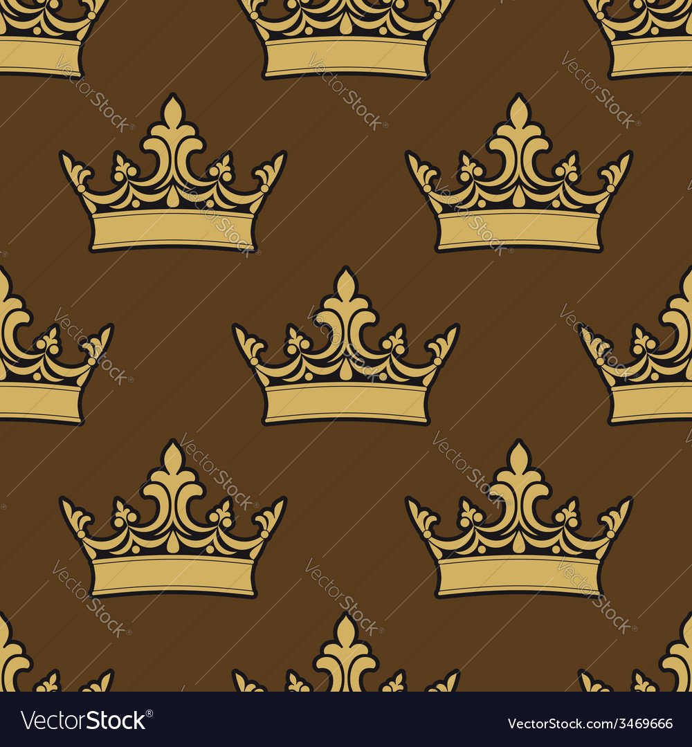Golden crowns seamless pattern vector | Price: 1 Credit (USD $1)