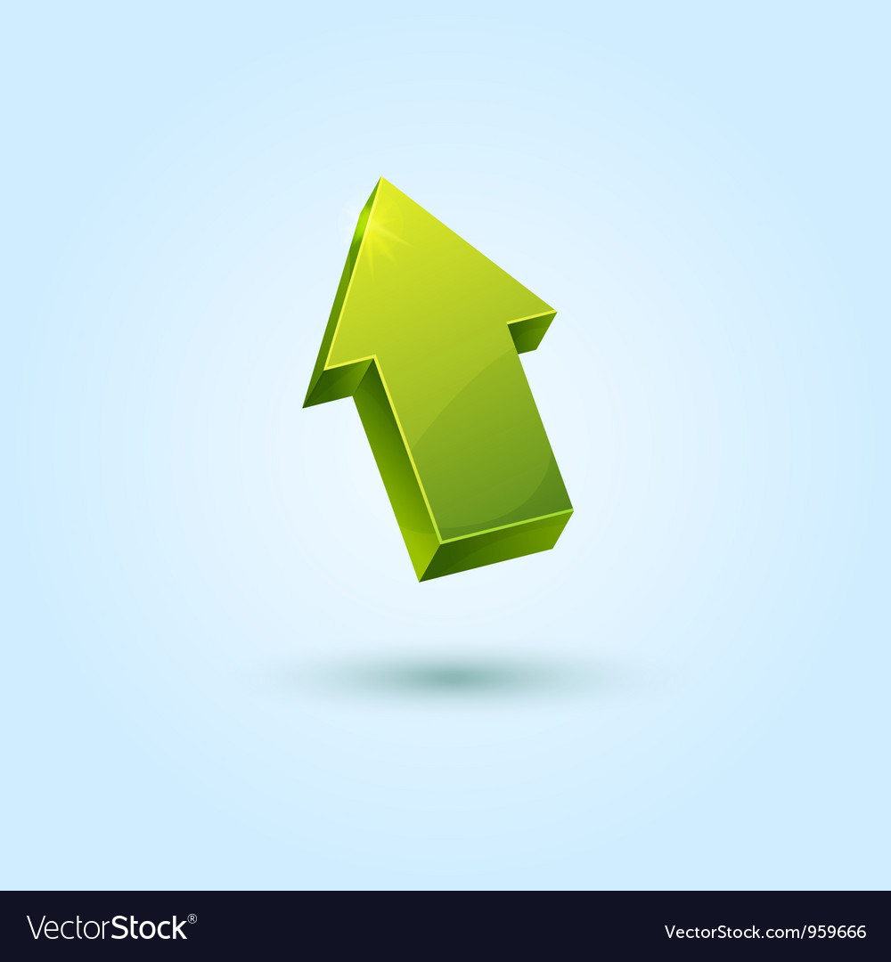 Green 3d arrow symbol isolated on blue background vector | Price: 1 Credit (USD $1)