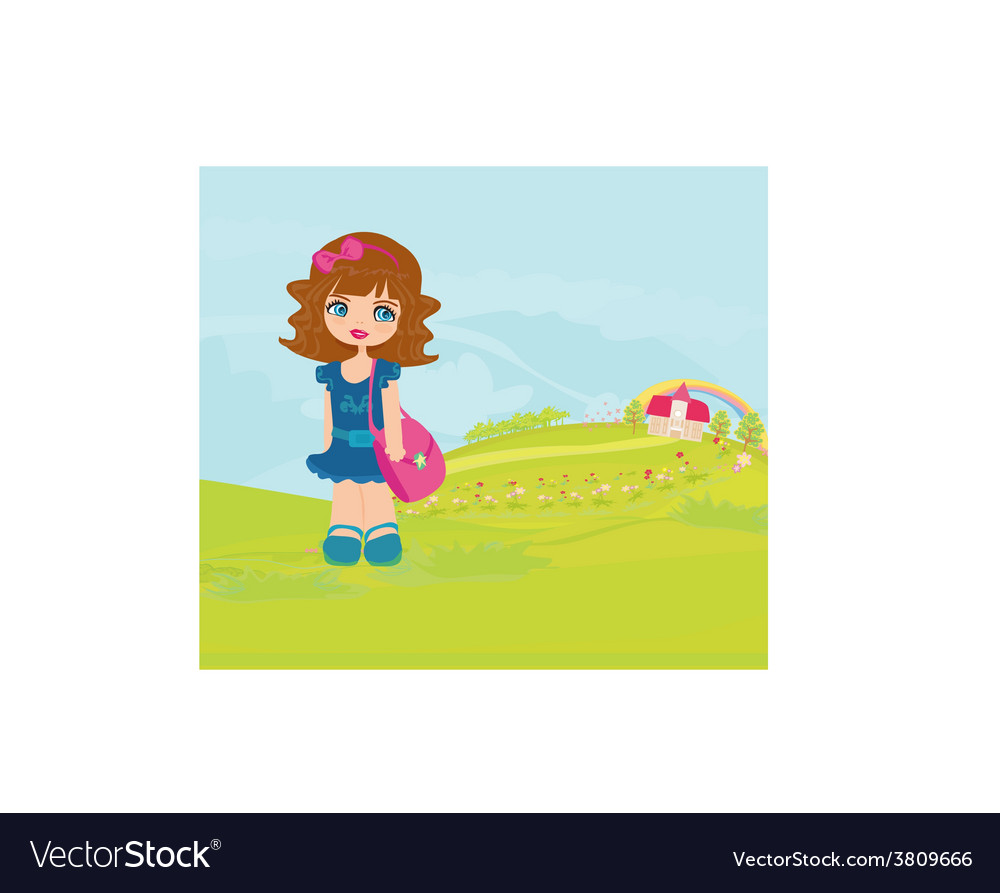 Little girl going to school vector | Price: 1 Credit (USD $1)