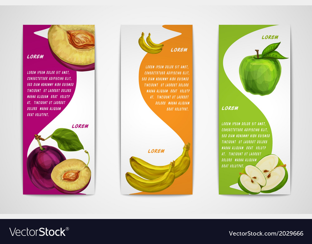 Mixed organic fruits banners collection vector | Price: 1 Credit (USD $1)