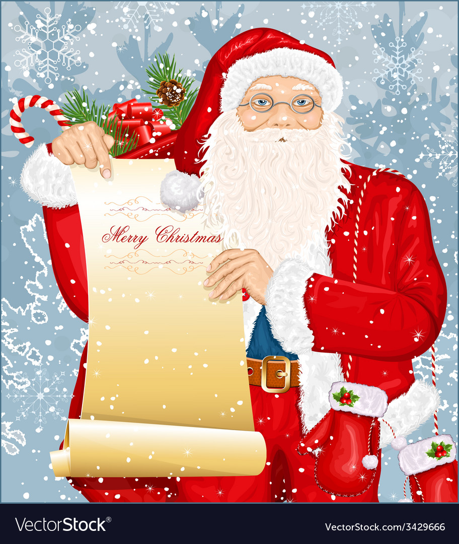 Santa claus with santas list vector