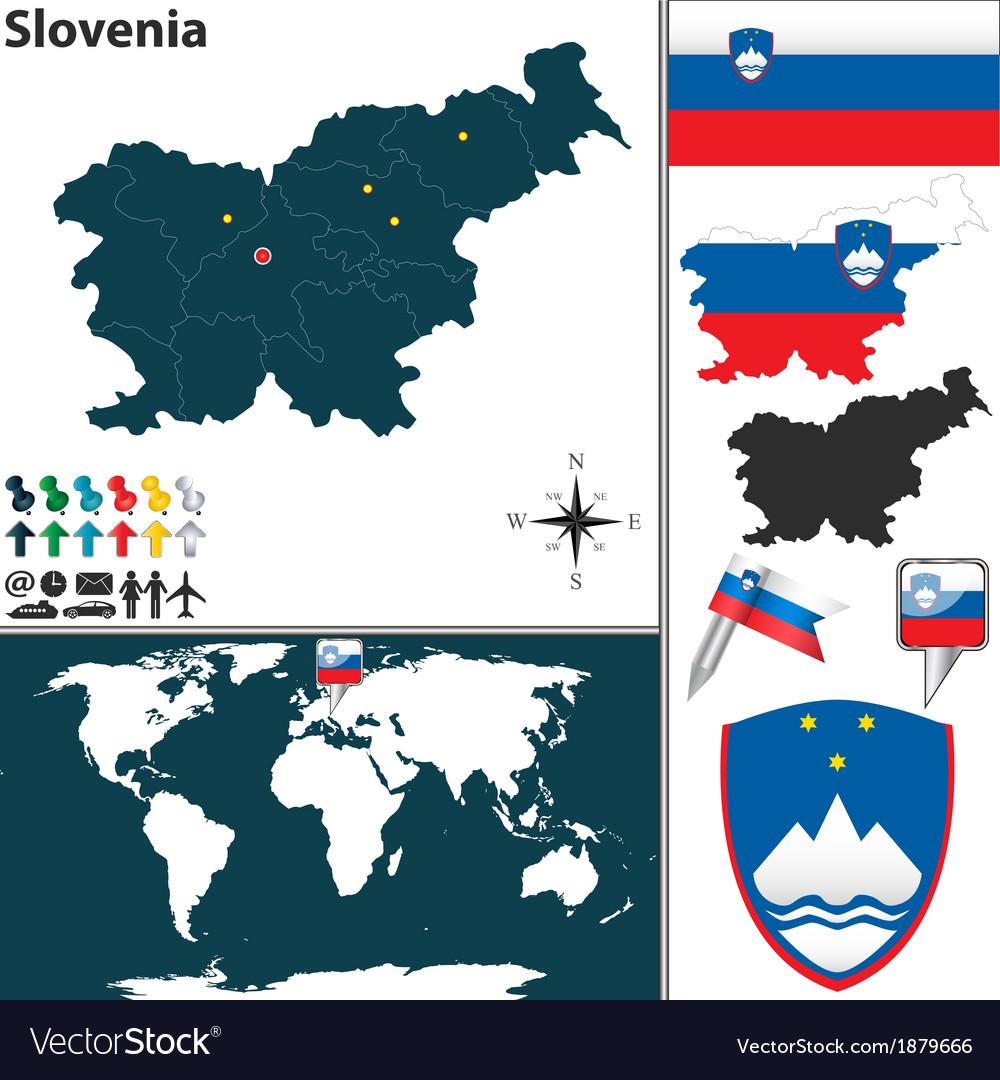 Slovenia map world vector | Price: 1 Credit (USD $1)
