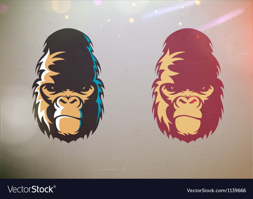 Stylized gorilla smirk face vector | Price: 1 Credit (USD $1)