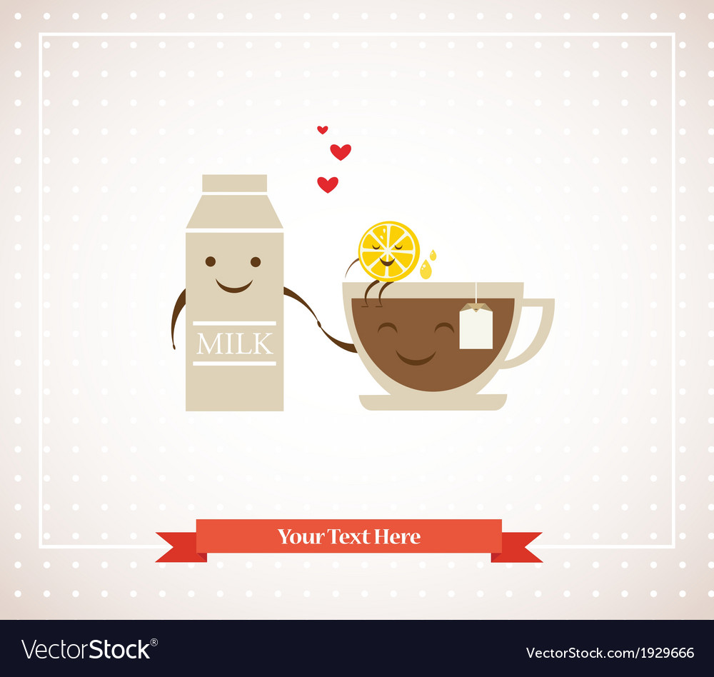 Tea cup milk and lemon hipster best friends vector | Price: 1 Credit (USD $1)