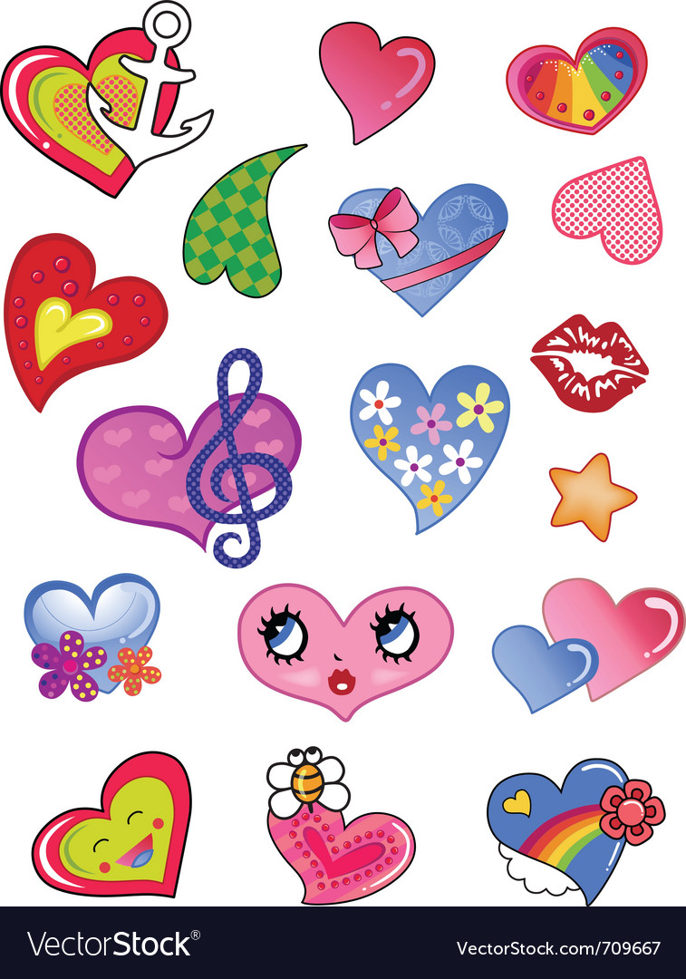 A set of comic hearts vector | Price: 1 Credit (USD $1)