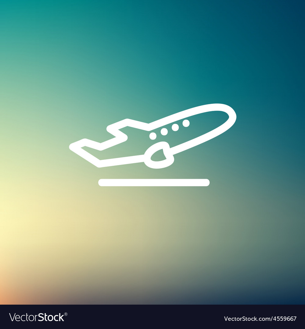 Airplane takeoff thin line icon vector   Price: 1 Credit (USD $1)