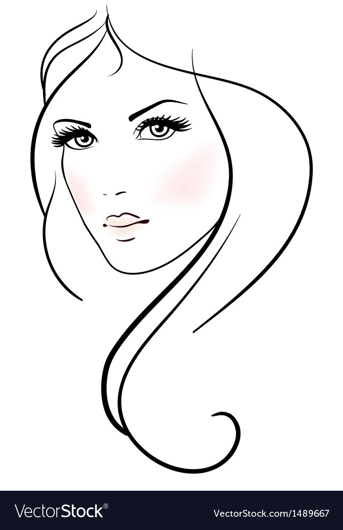 Beautiful young woman with long blond hair vector | Price: 1 Credit (USD $1)