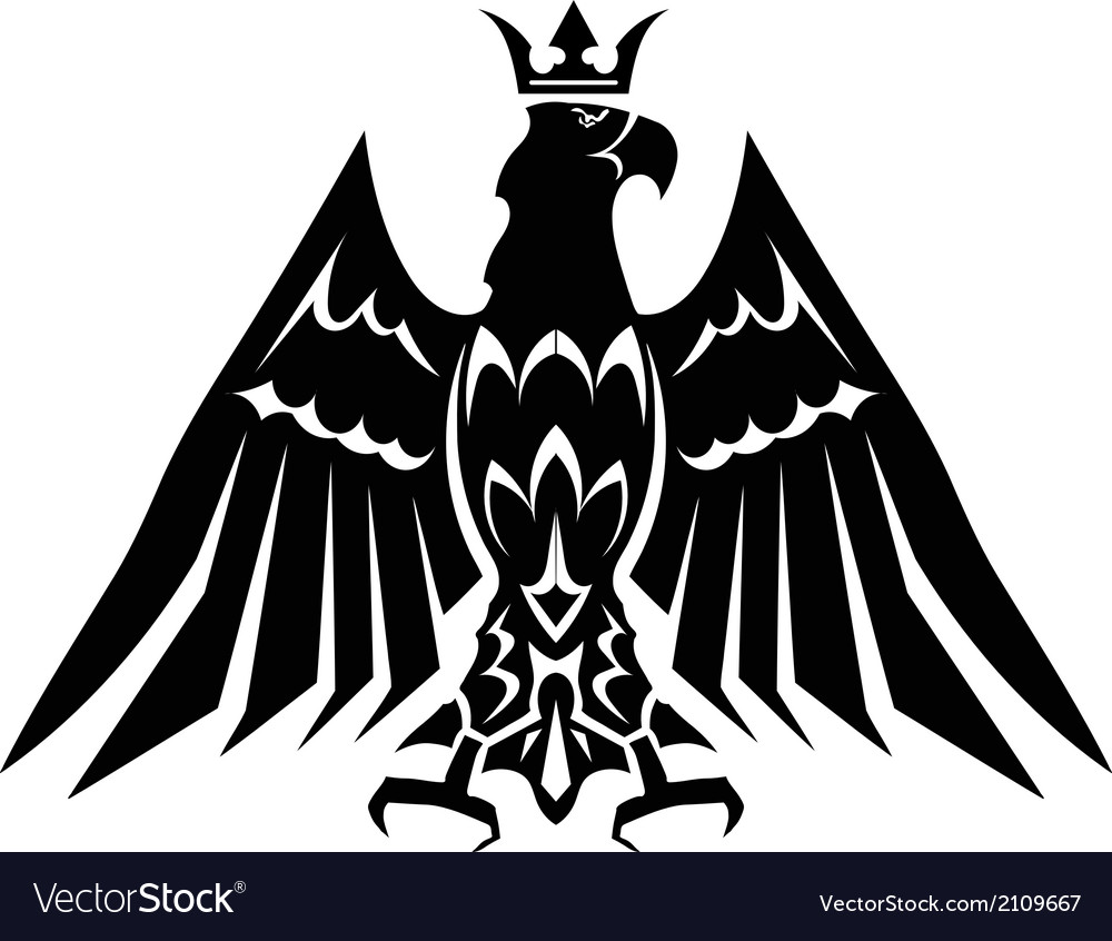 Black heraldic eagle crown vector | Price: 1 Credit (USD $1)