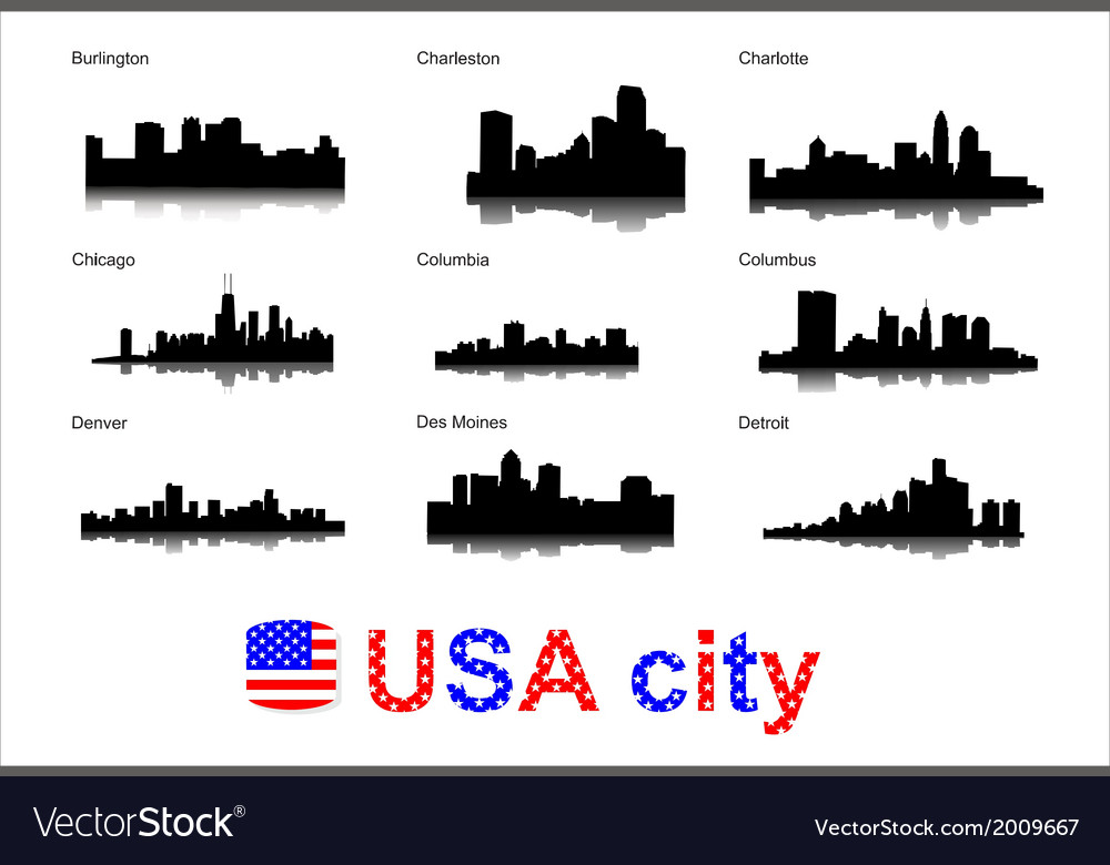 Detailed silhouettes of usa cities vector | Price: 1 Credit (USD $1)