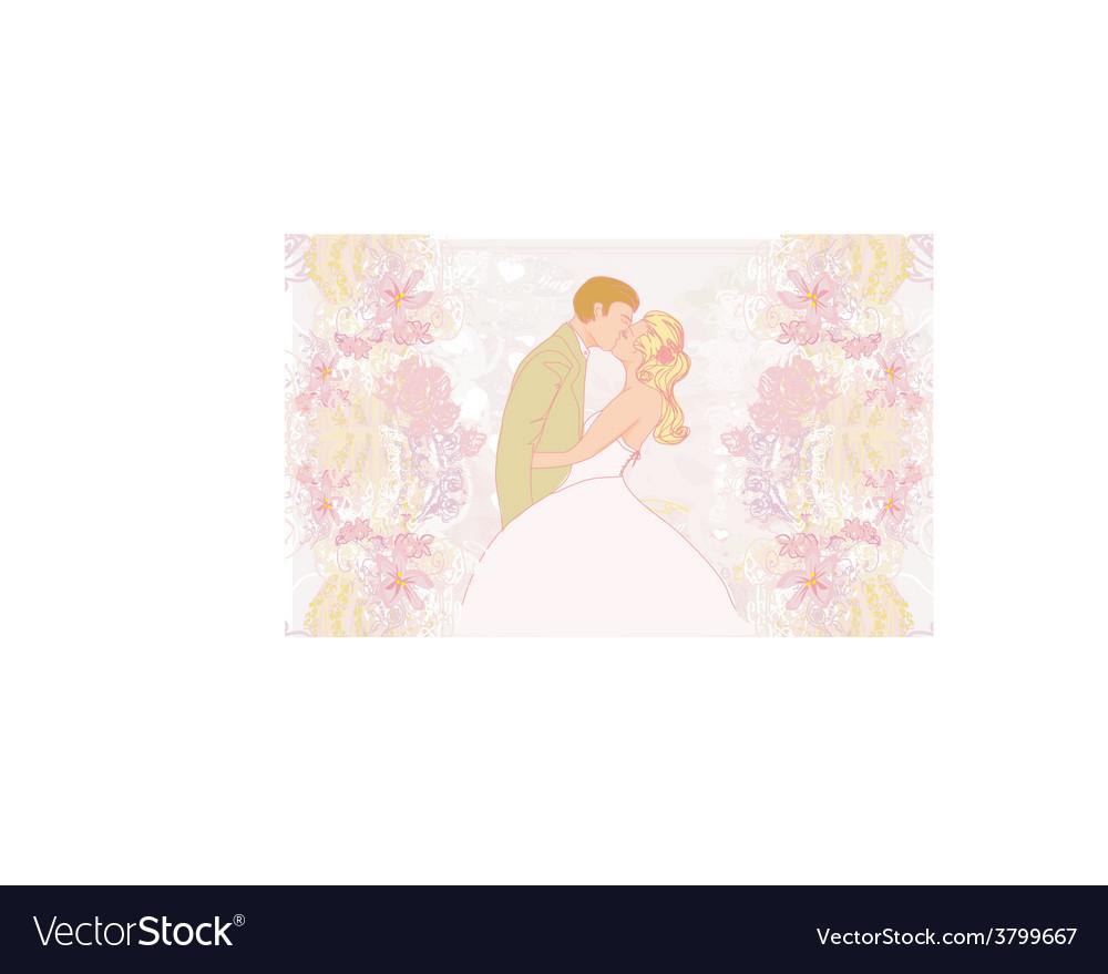 Elegant wedding invitation with wedding kissing vector | Price: 1 Credit (USD $1)