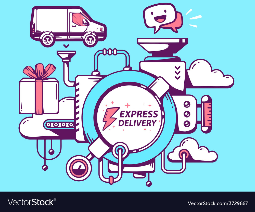 Mechanism express delivery and relevant i vector | Price: 1 Credit (USD $1)