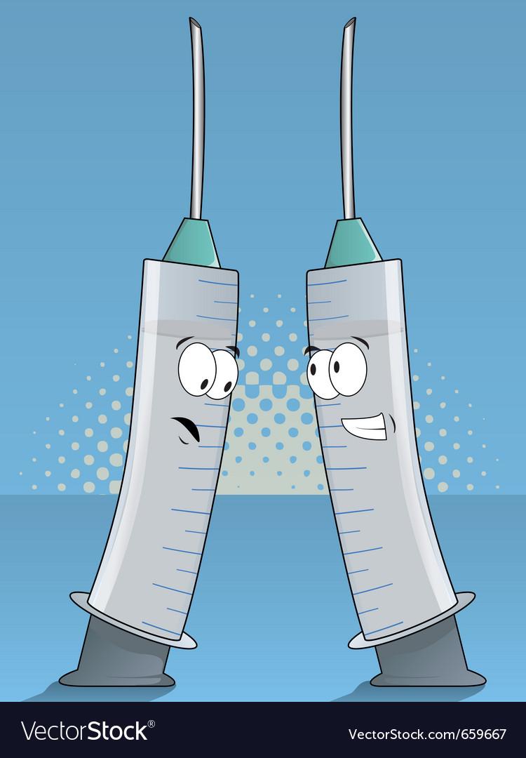 Medical syringes cartoon vector | Price: 1 Credit (USD $1)