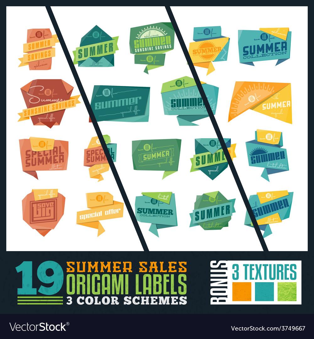 Origami summer sales labels vector | Price: 1 Credit (USD $1)