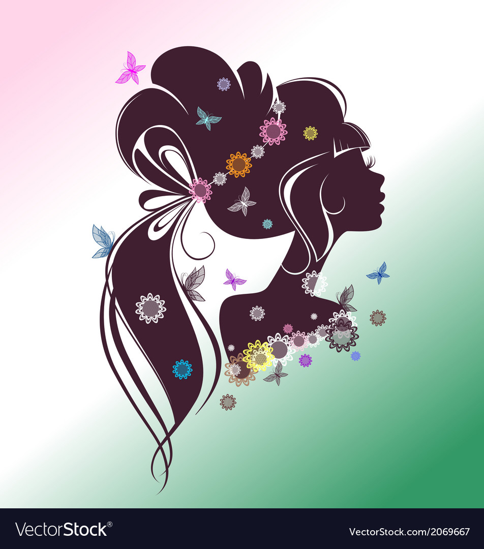 Portrait of a girl with flowers and butterflies vector | Price: 1 Credit (USD $1)