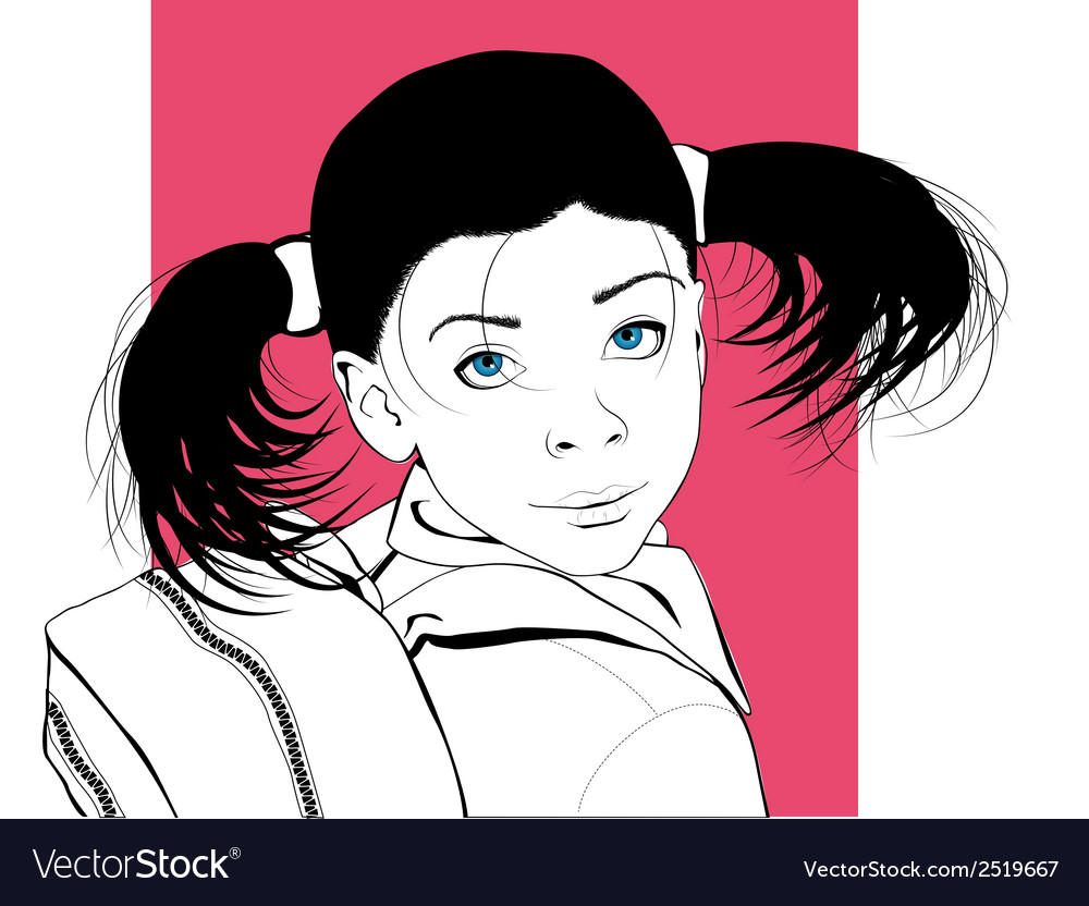 Portrait of a little girl going to the school vector | Price: 1 Credit (USD $1)