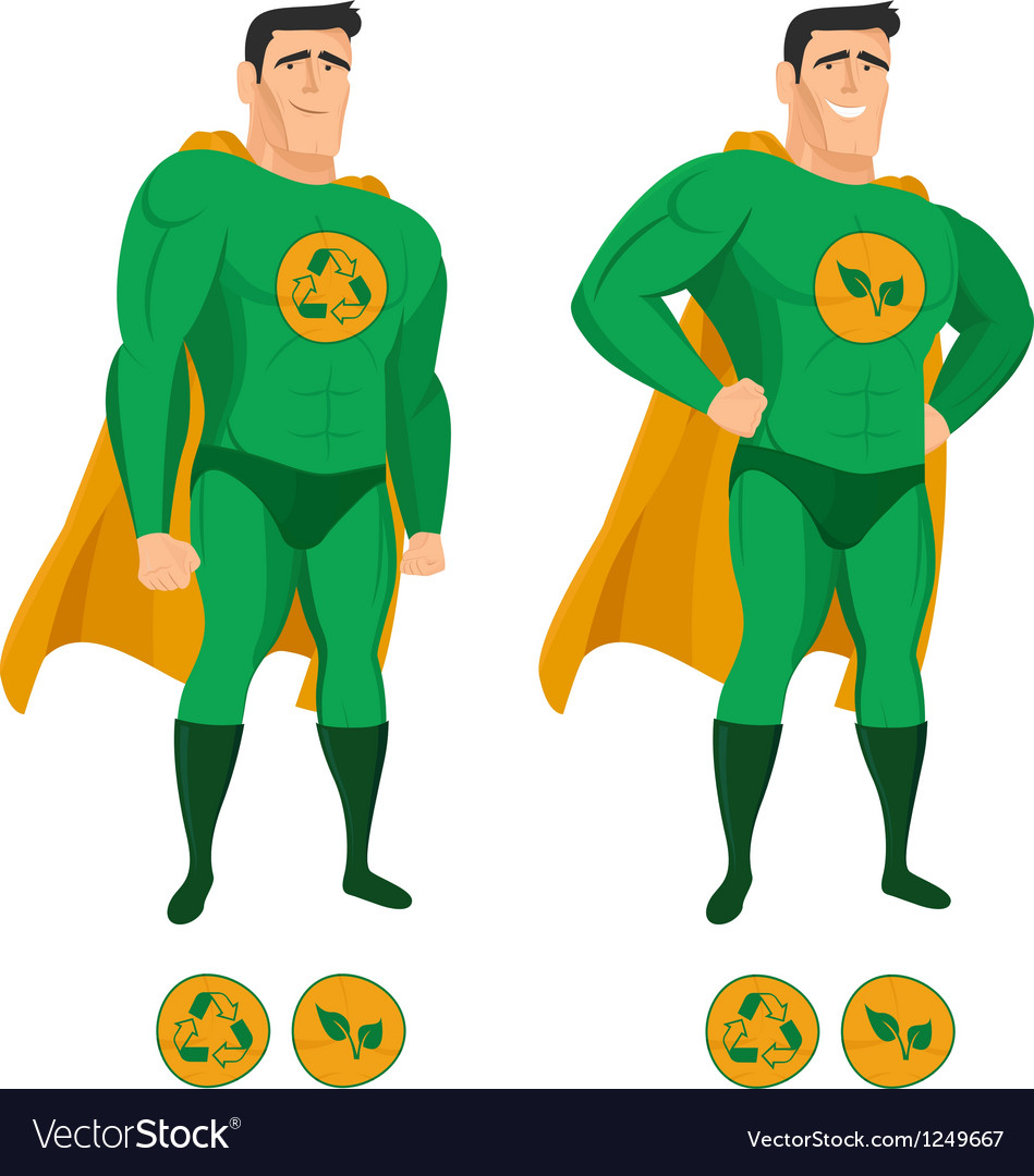 Recycle superhero in green uniform with a cape vector | Price: 3 Credit (USD $3)