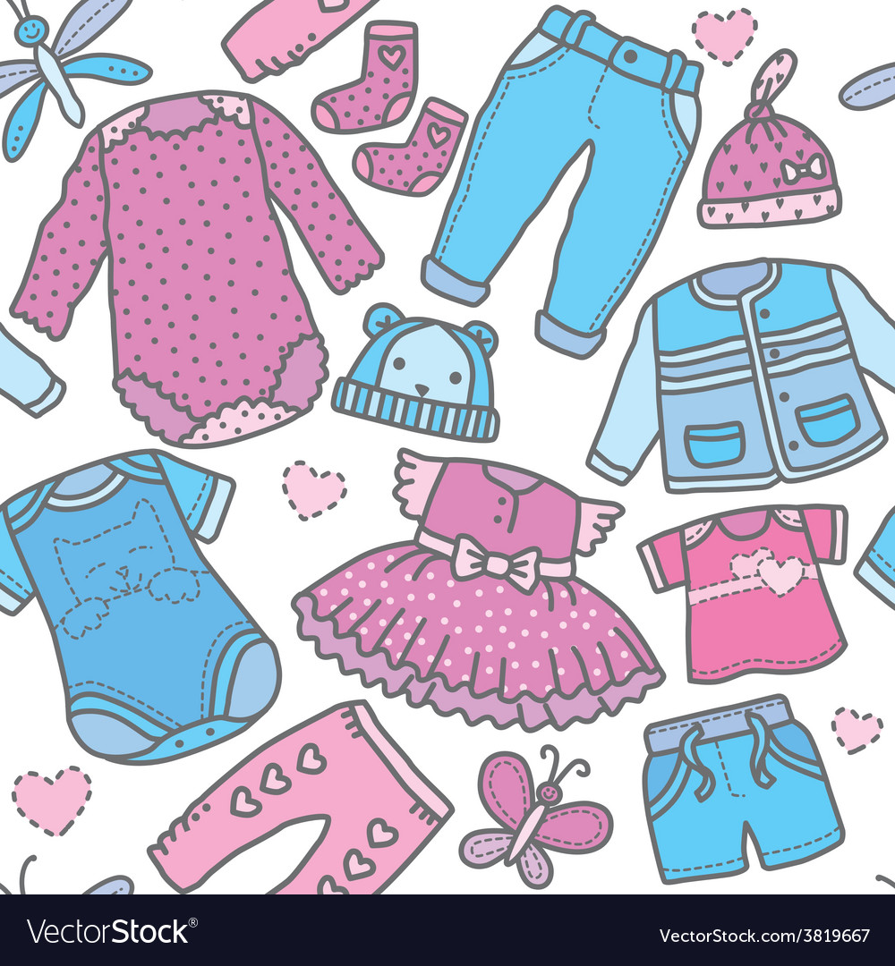 Seamless pattern children clothing vector | Price: 1 Credit (USD $1)