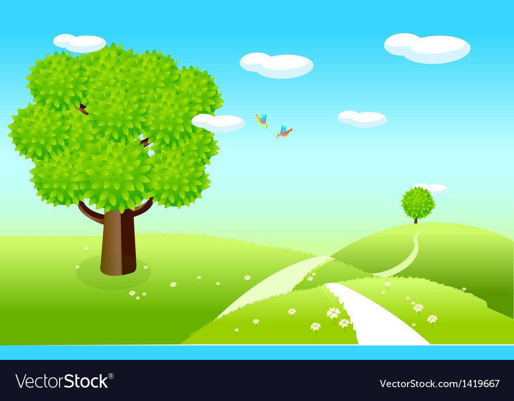 Spring landscape green fields vector   Price: 1 Credit (USD $1)