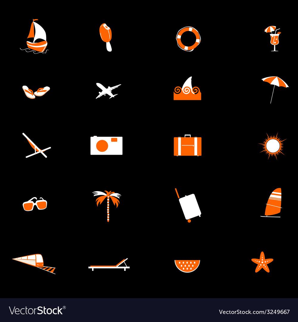 Travel icon in orange and white color vector | Price: 1 Credit (USD $1)