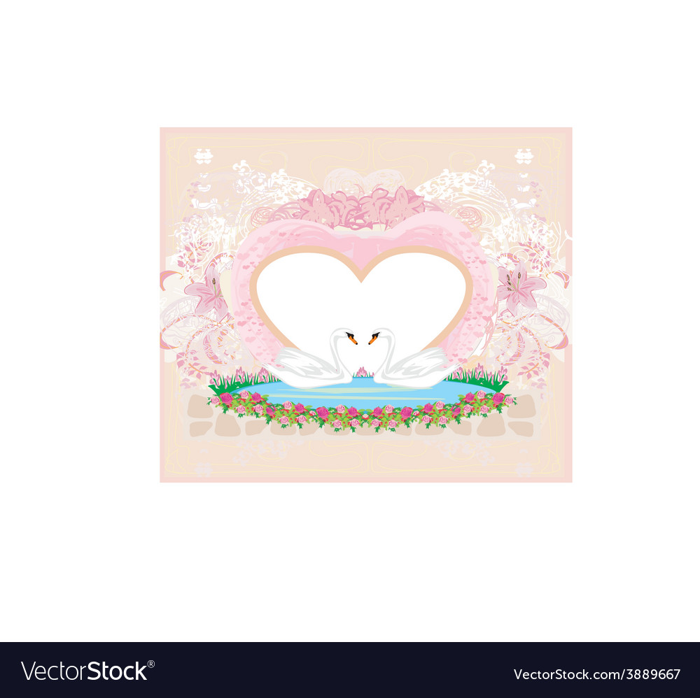 Wedding card with two romantic swans vector | Price: 1 Credit (USD $1)