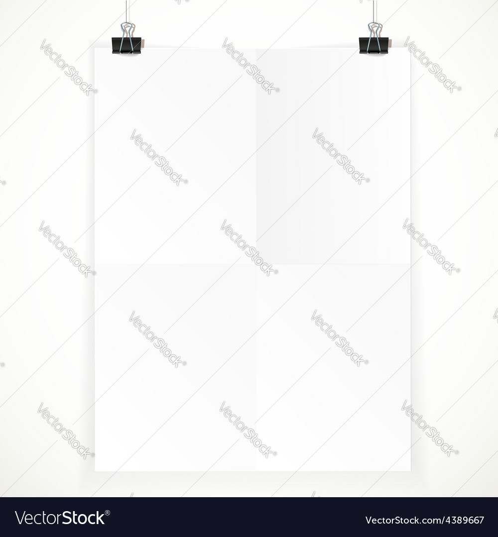 White paper hanging on two binders isolated on a vector | Price: 1 Credit (USD $1)
