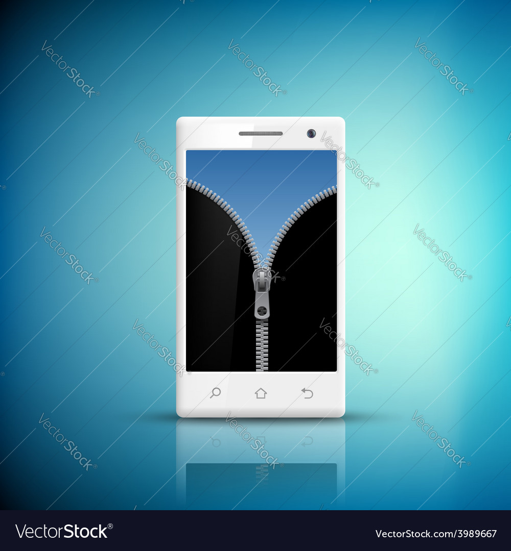 White smartphone with zipper on the screen vector | Price: 1 Credit (USD $1)