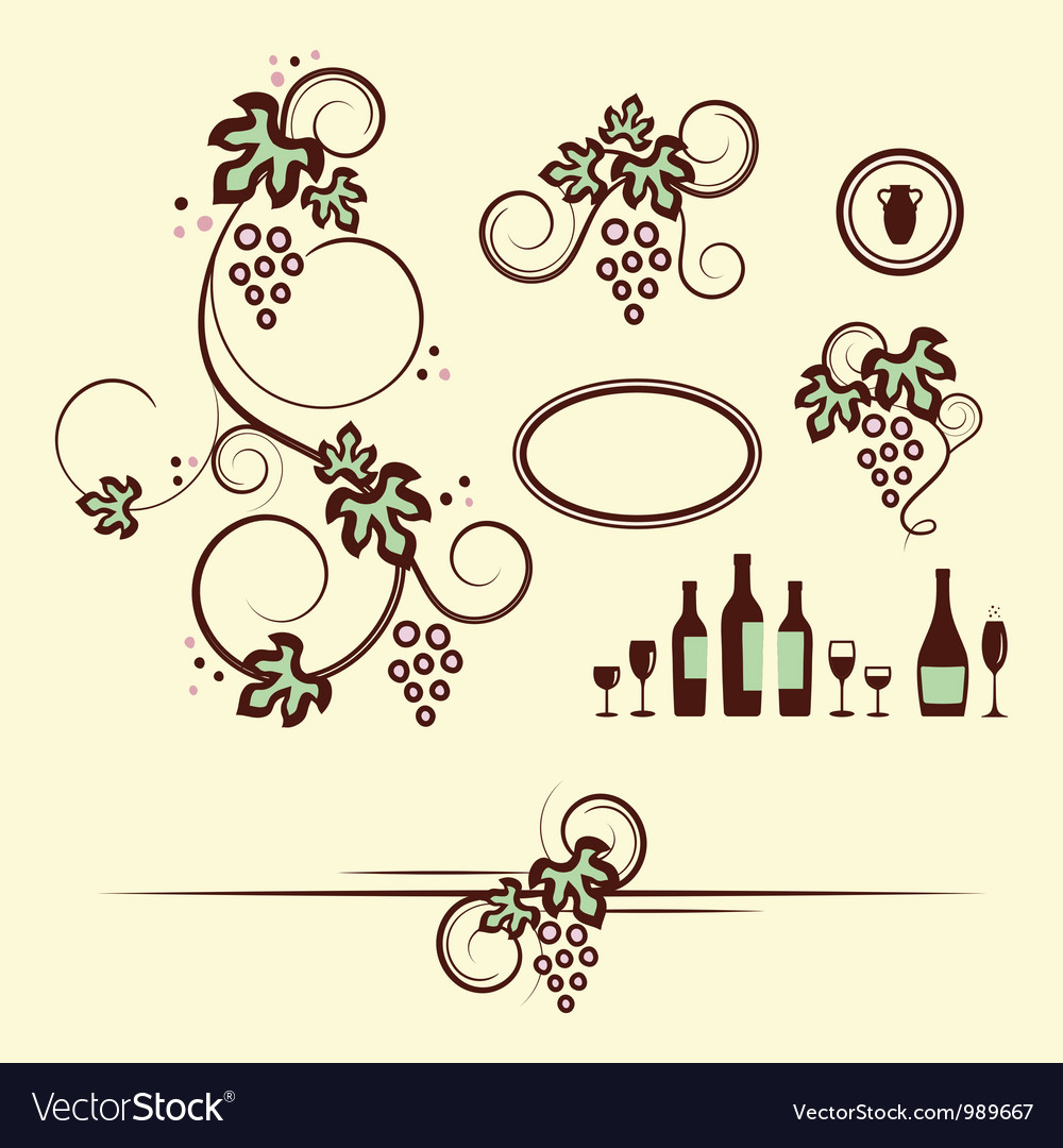 Winery design objects set vector   Price: 1 Credit (USD $1)