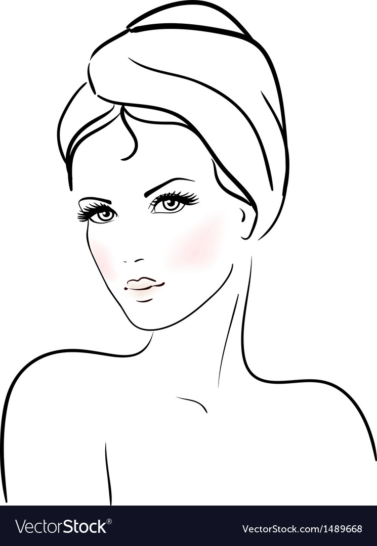 Beautiful young woman with towel vector | Price: 1 Credit (USD $1)