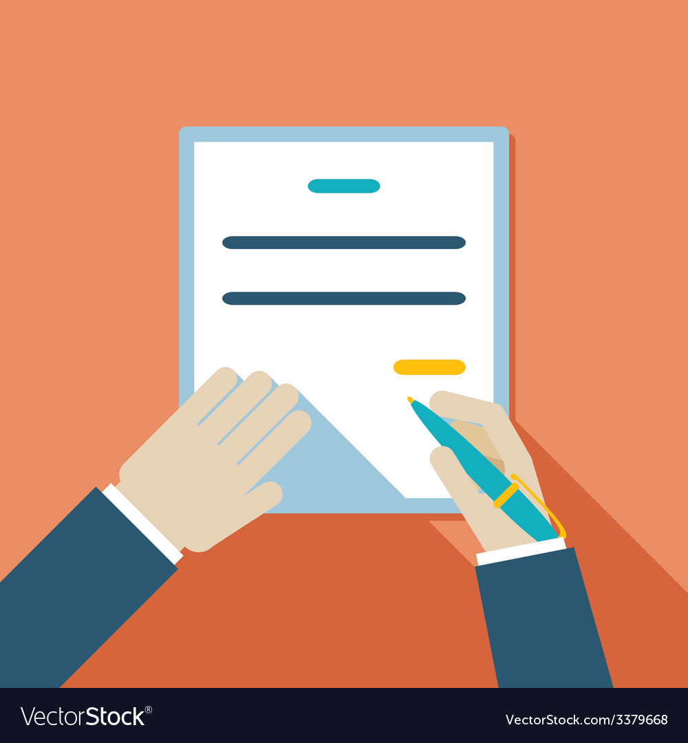 Cartooned hand signing contract vector   Price: 1 Credit (USD $1)