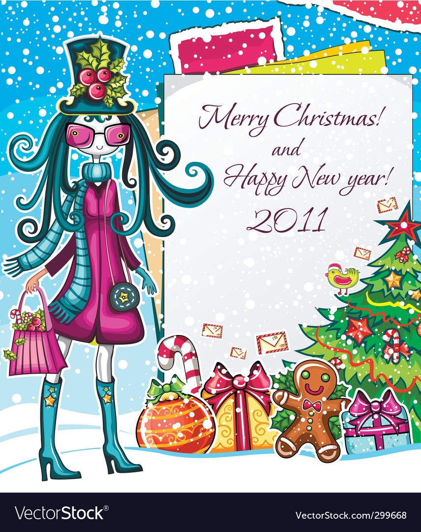 Christmas paper girl sale good vector | Price: 5 Credit (USD $5)