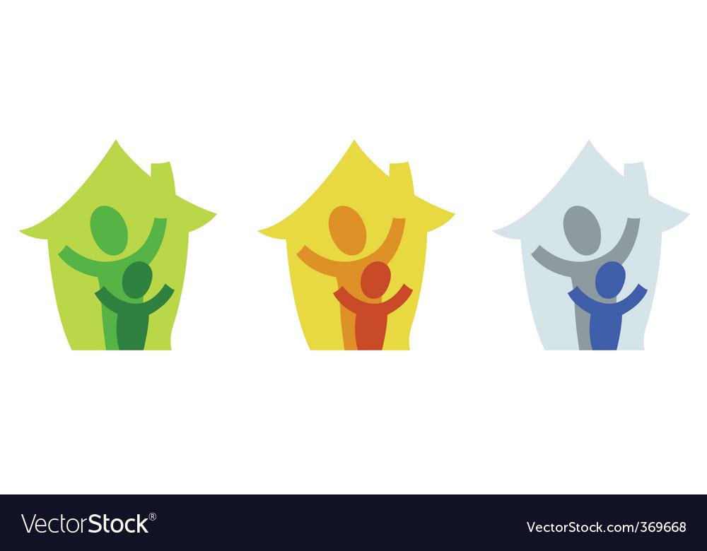 Family home icon vector | Price: 1 Credit (USD $1)