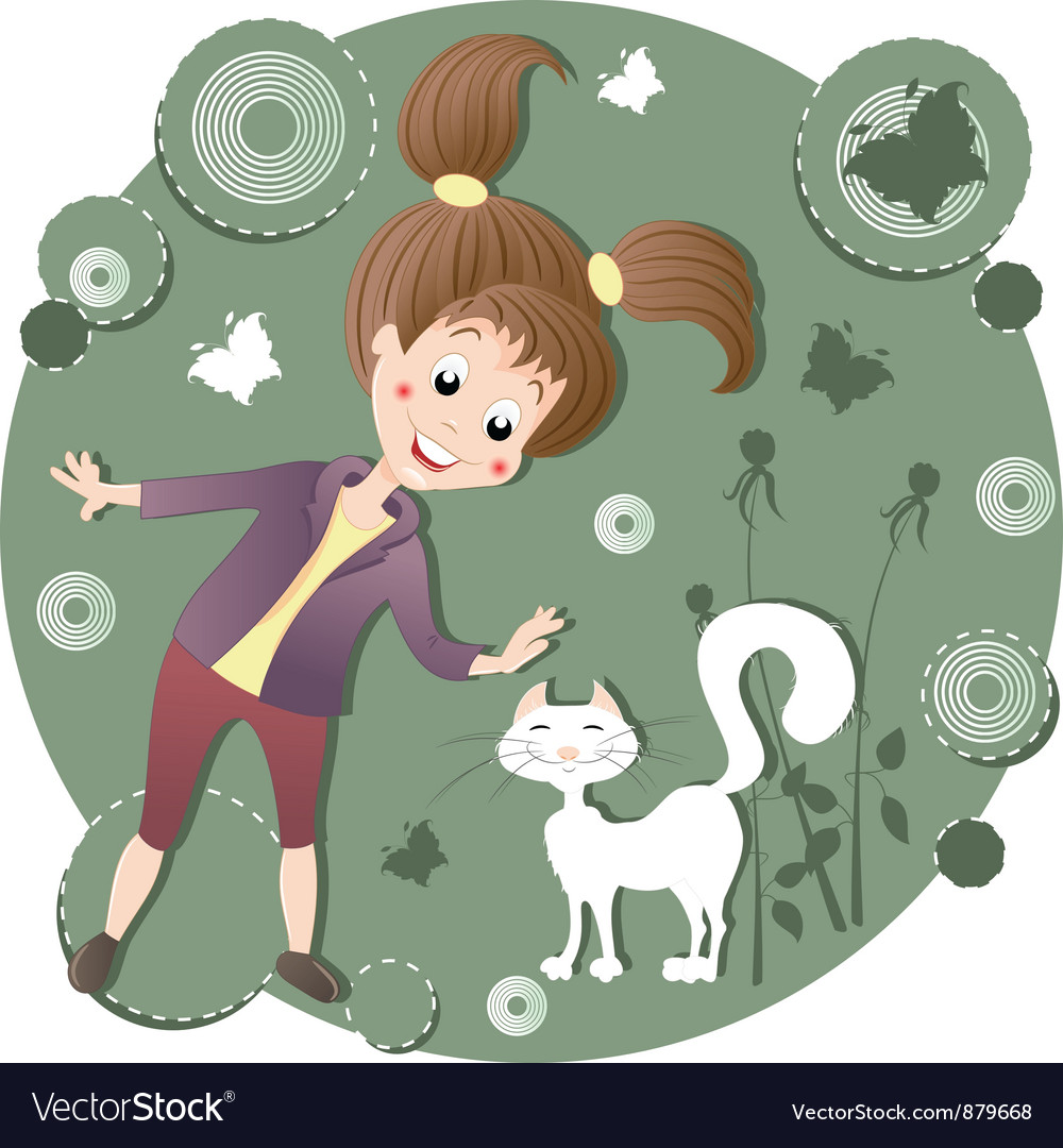 Girl stroking a cat vector | Price: 3 Credit (USD $3)