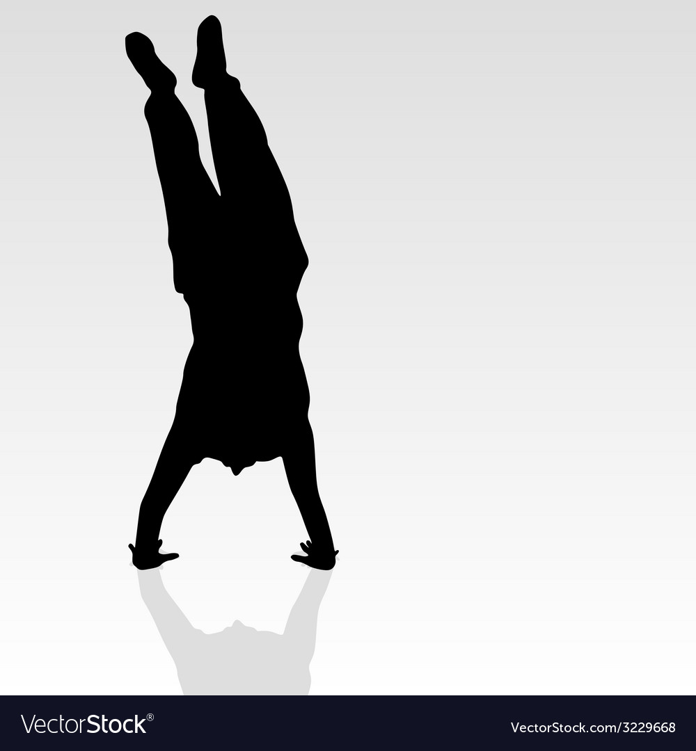 Handstand black silhouette vector | Price: 1 Credit (USD $1)