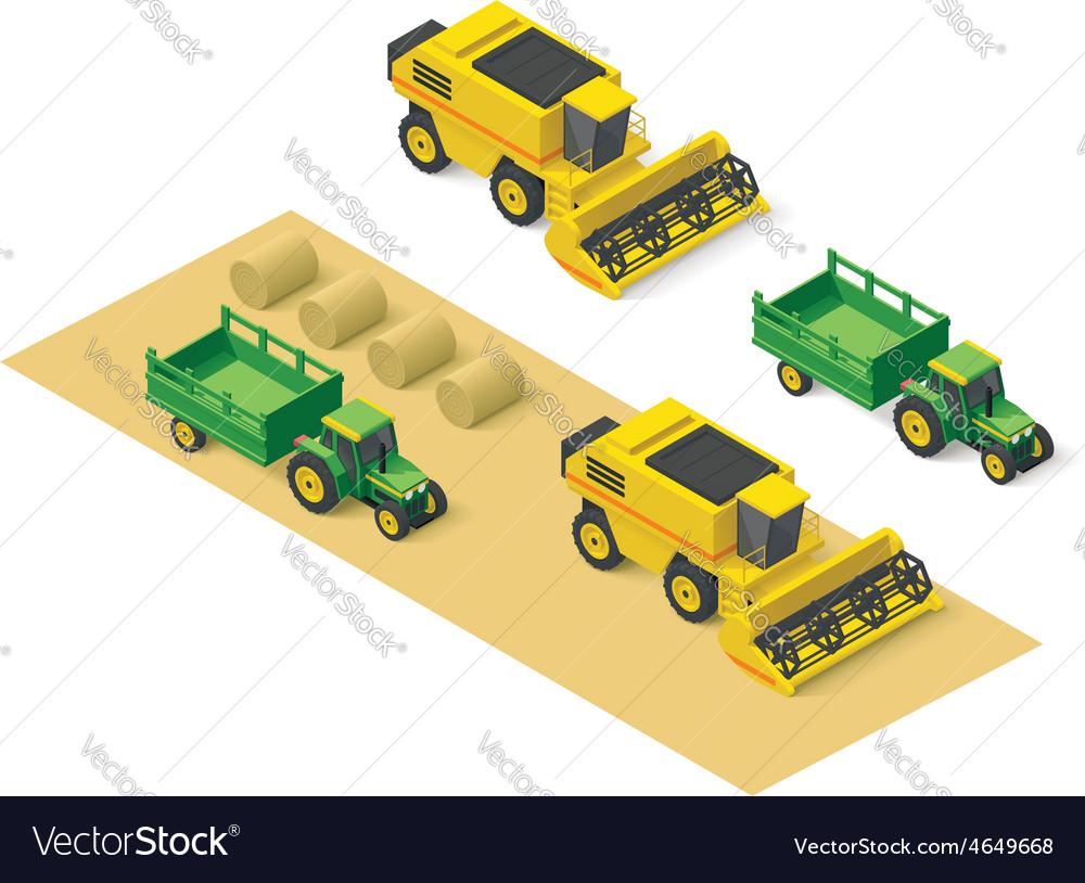 Isometric farm vehicles set vector | Price: 1 Credit (USD $1)