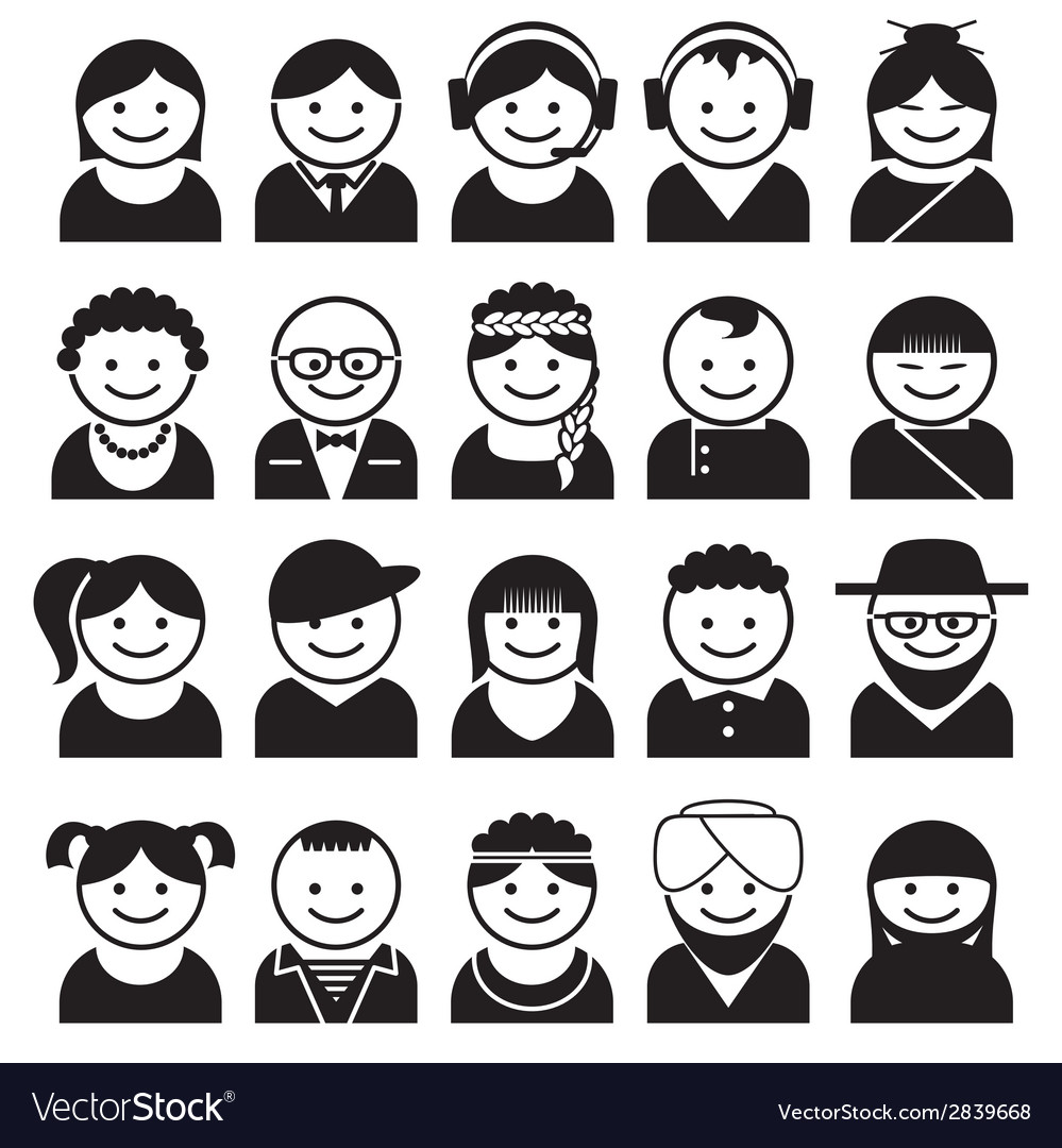 Peoples avatar icons vector | Price: 1 Credit (USD $1)