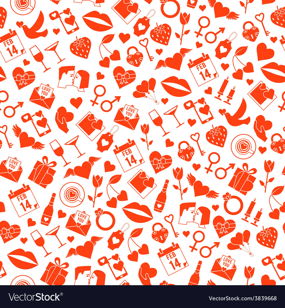 Valentines day love seamless pattern vector | Price: 1 Credit (USD $1)