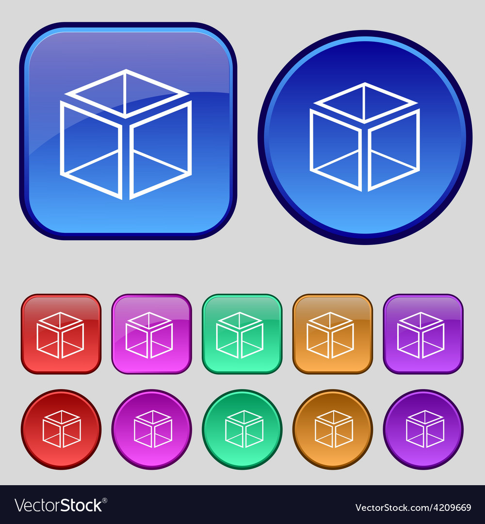 3d cube icon sign a set of twelve vintage buttons vector | Price: 1 Credit (USD $1)