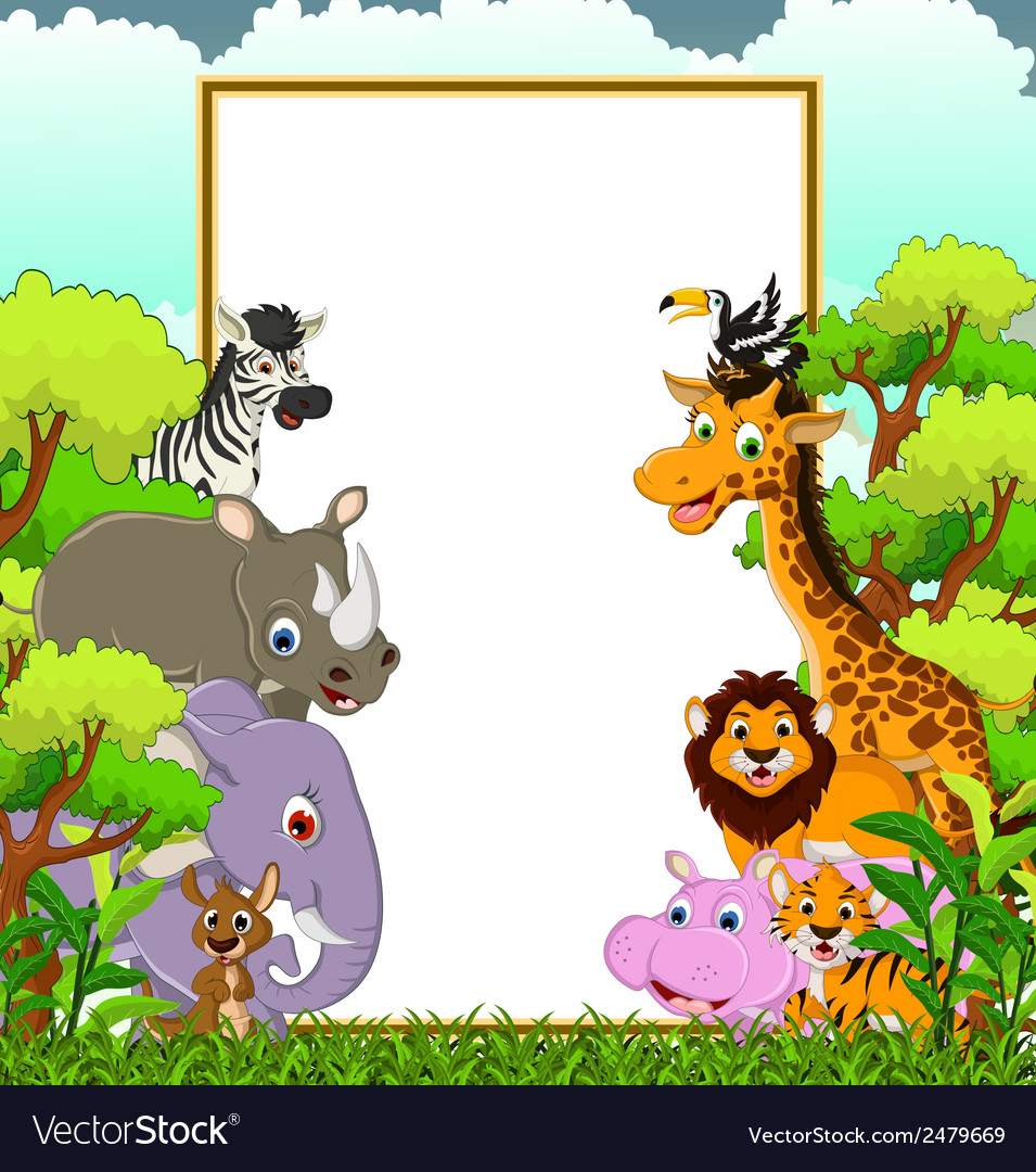 Animal wildlife cartoon with blank sign and forest vector | Price: 1 Credit (USD $1)