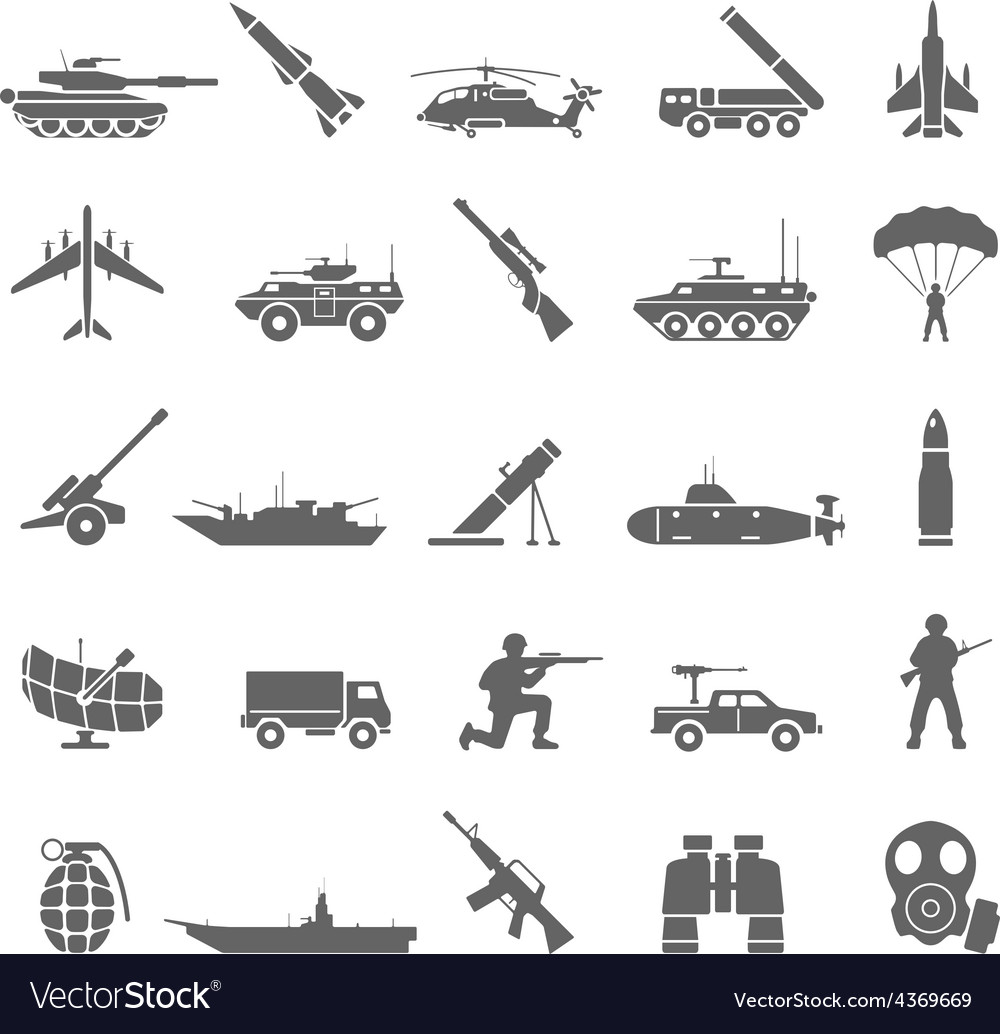 Black icons  army vector