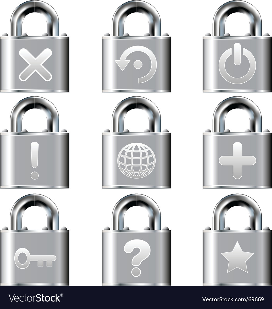 Computer desktop lock icons vector | Price: 1 Credit (USD $1)