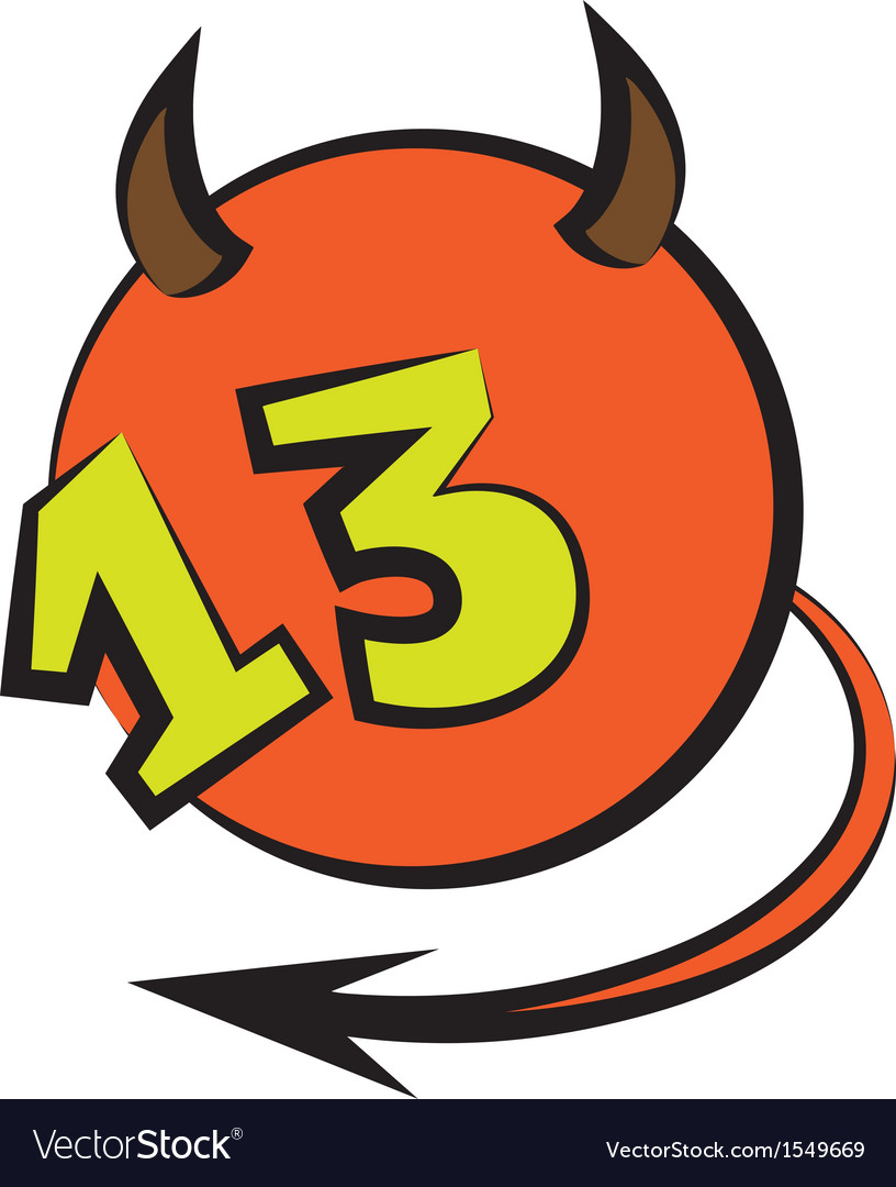 Devilish ball with number thirteen vector | Price: 1 Credit (USD $1)