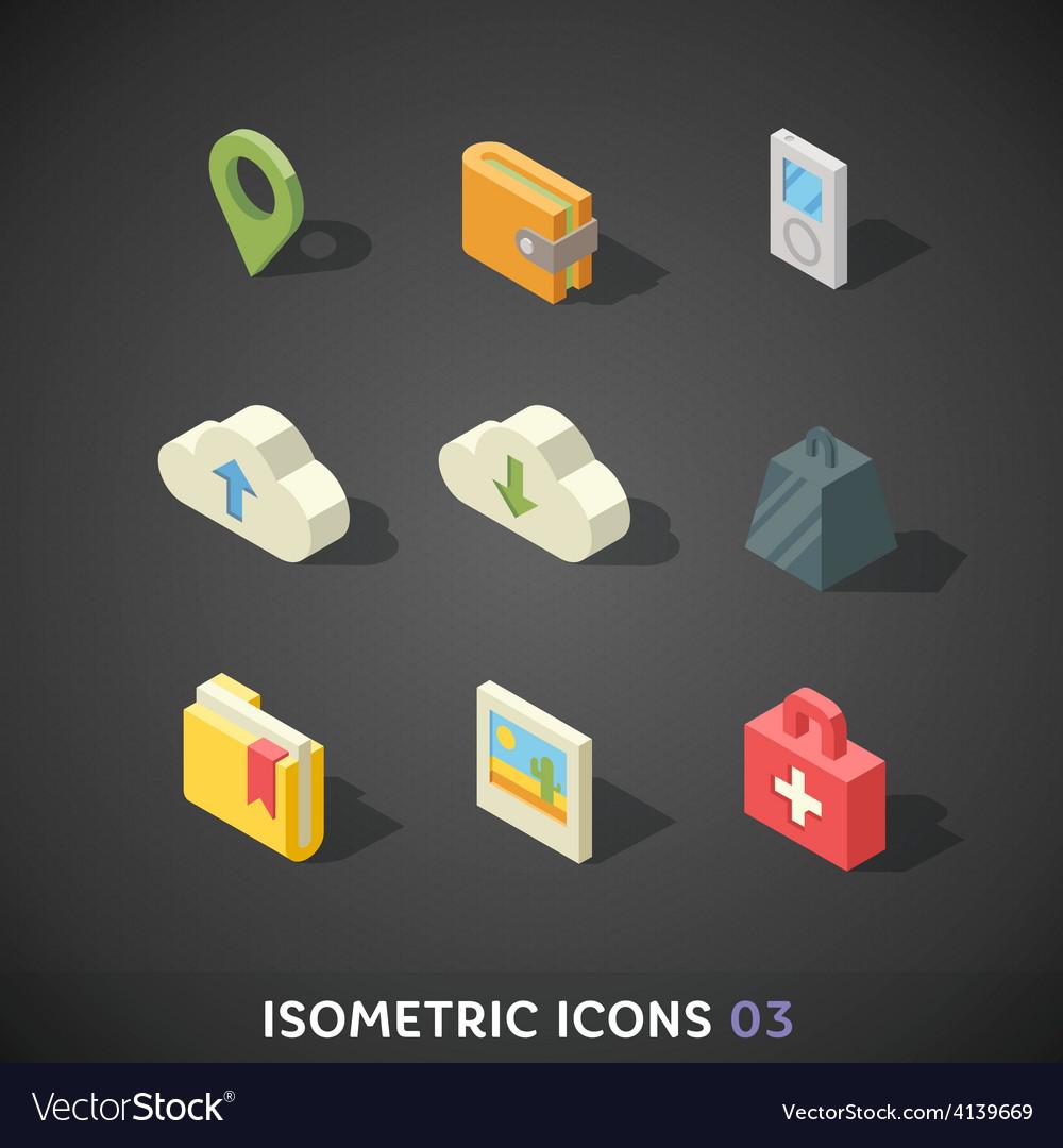 Flat isometric icons set 3 vector | Price: 3 Credit (USD $3)