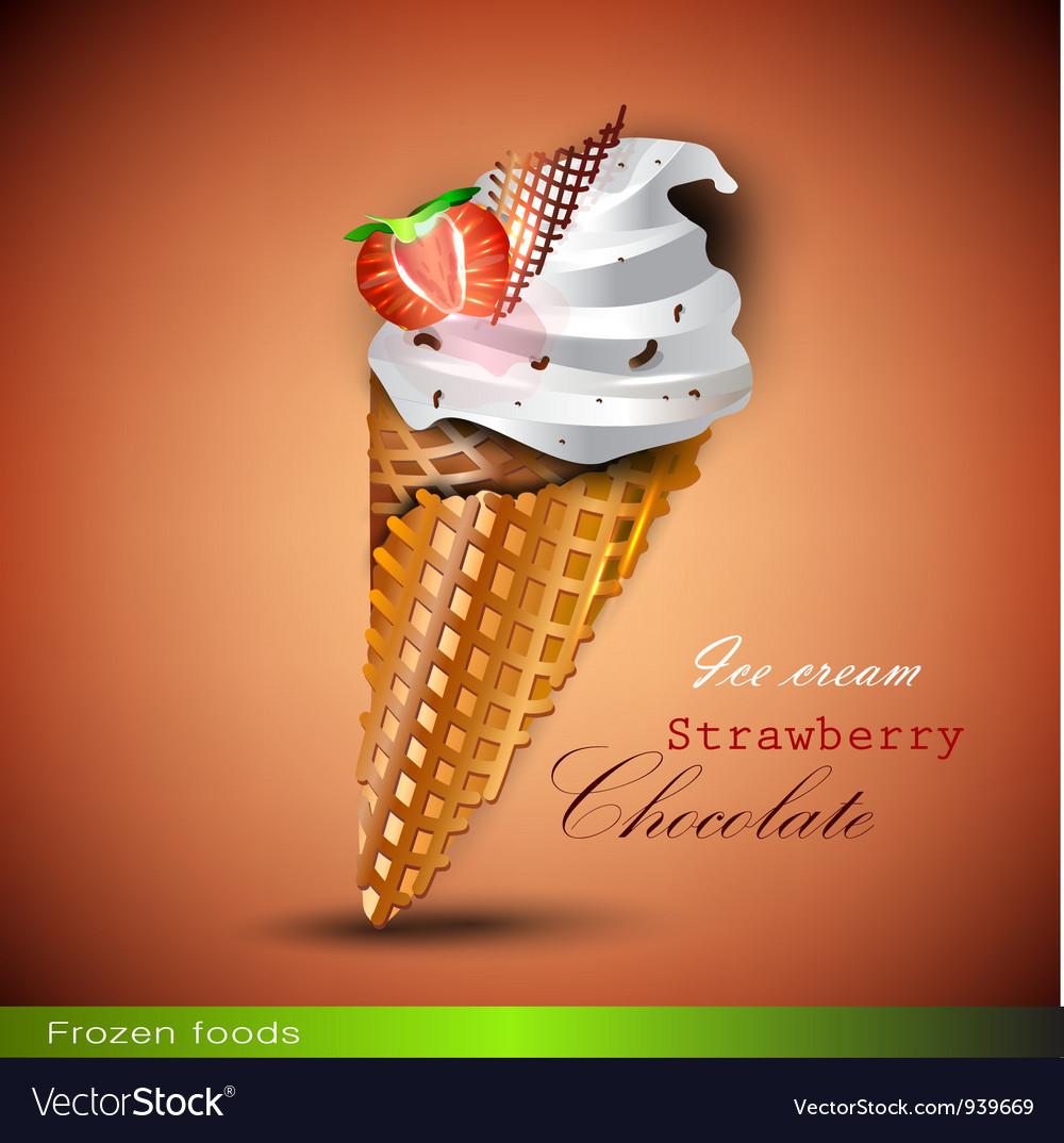 Ice cream cone with strawberries vector | Price: 1 Credit (USD $1)