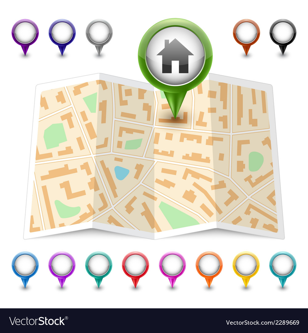 Map icon map markers vector | Price: 1 Credit (USD $1)