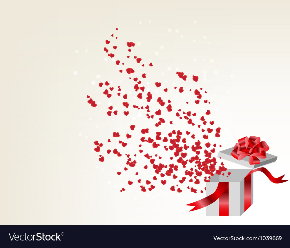 Opened gift box with flying hearts valentines card vector | Price: 1 Credit (USD $1)