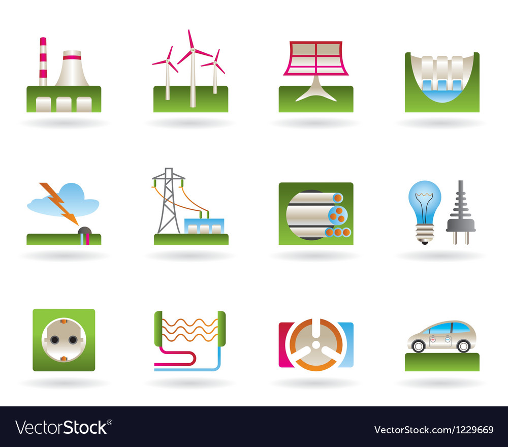 Power plants and electricity grids vector | Price: 1 Credit (USD $1)